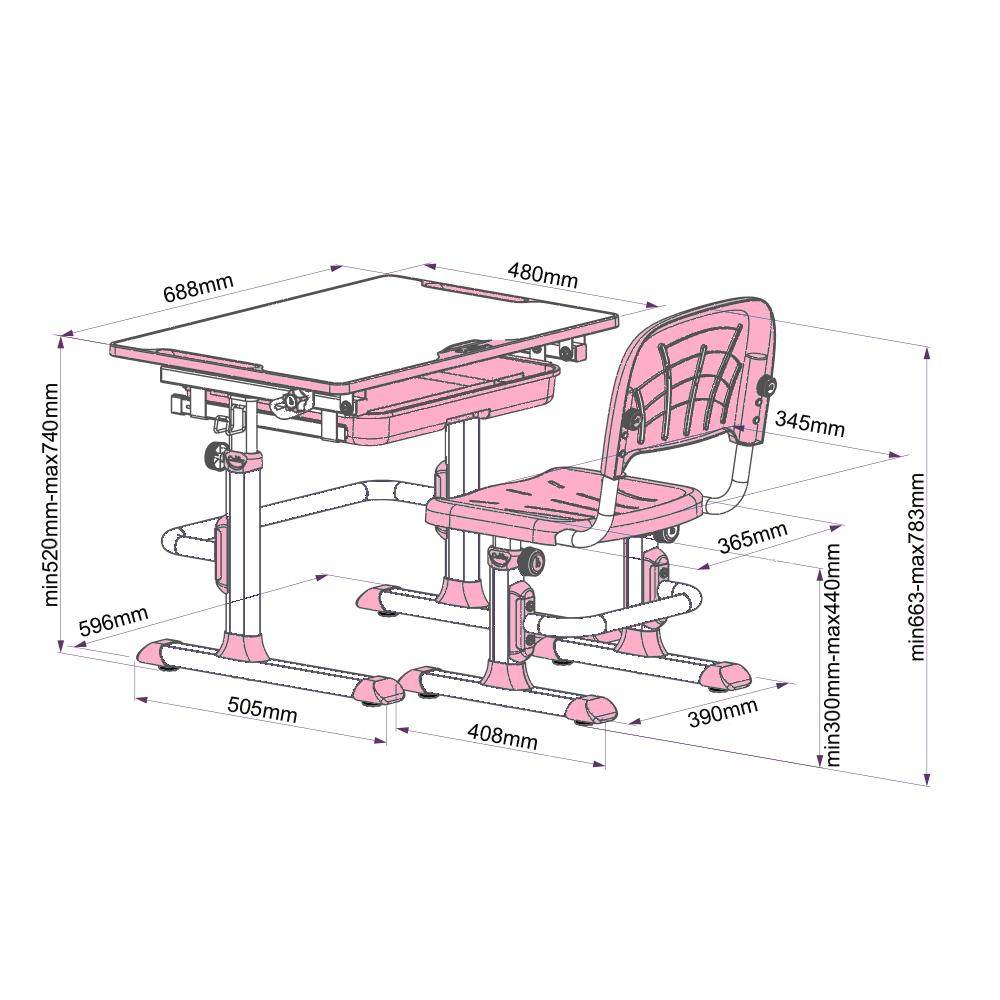 rastúci písací stôl