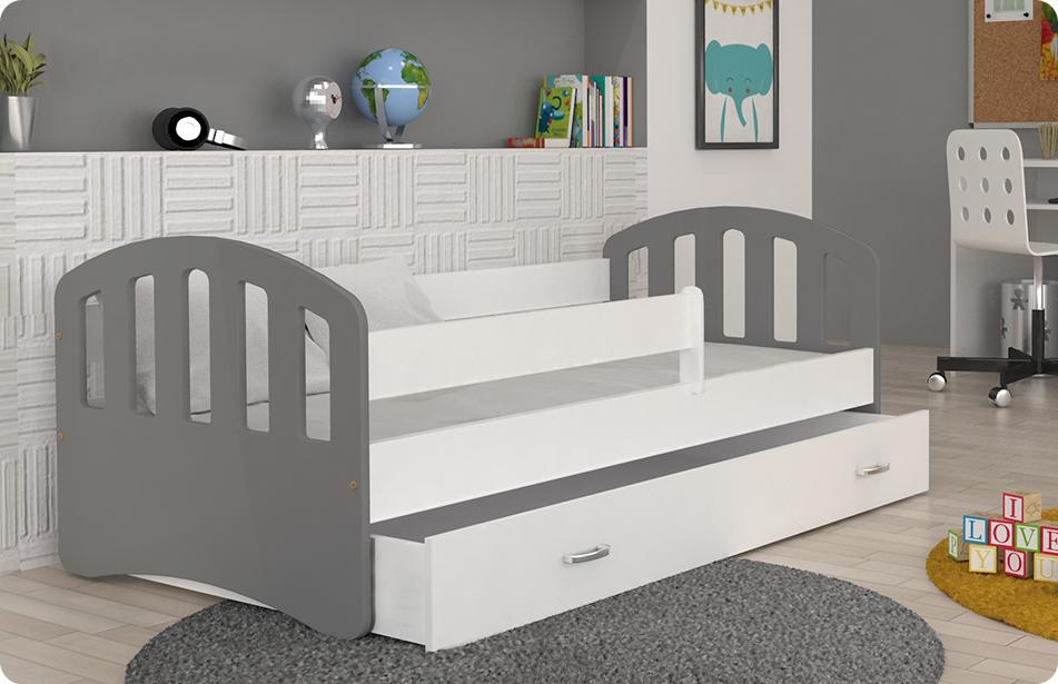 Šťastie sivá posteľ pre deti 160x80