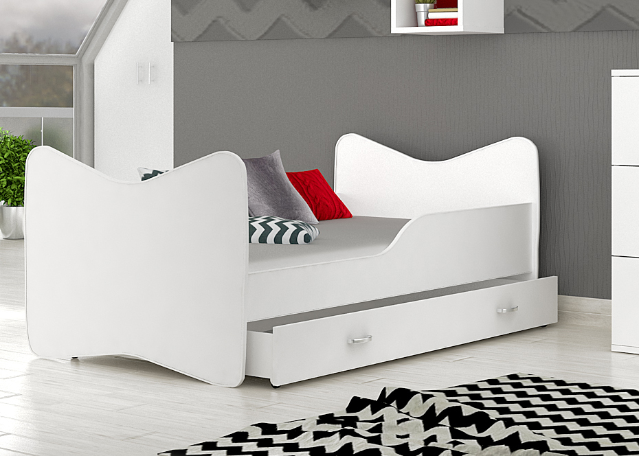 posteľ so šuflíkom biela