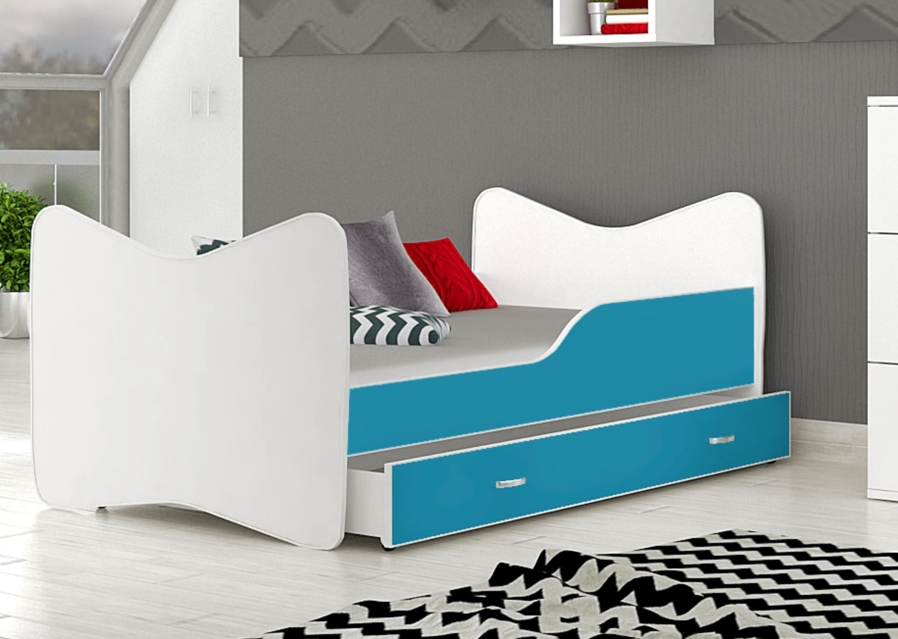 posteľ so šuflíkom modrá