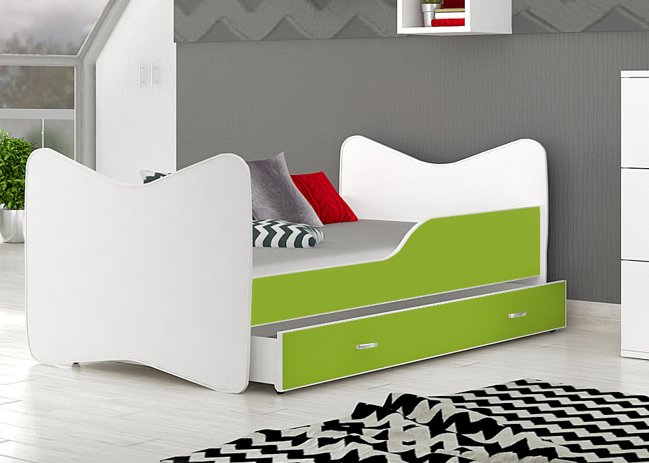 posteľ so šuflíkom zelená