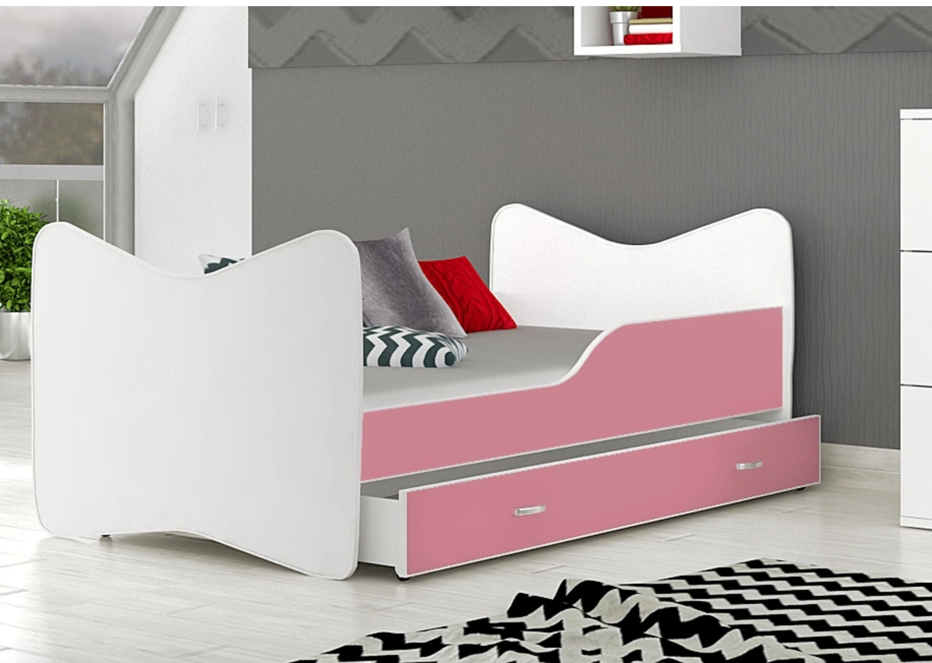 posteľ so šuflíkom ružová