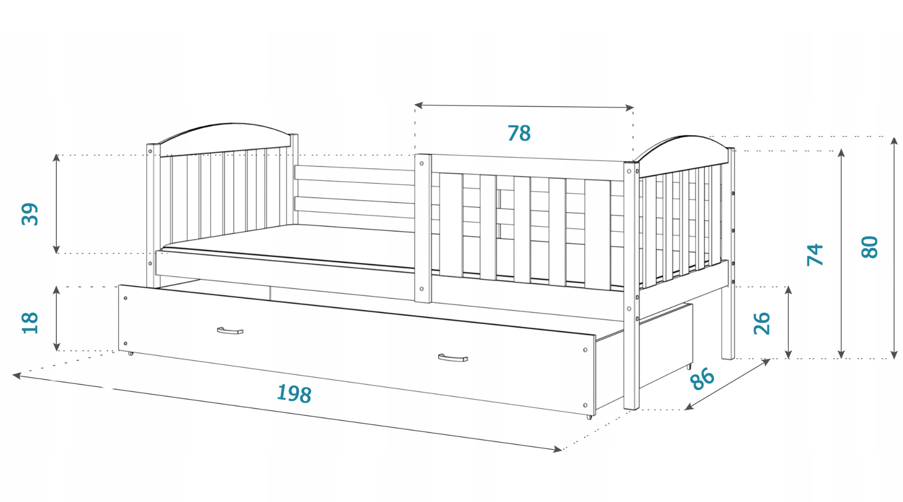 Rozmery - Kuba P detská posteľ 190x80 borovica