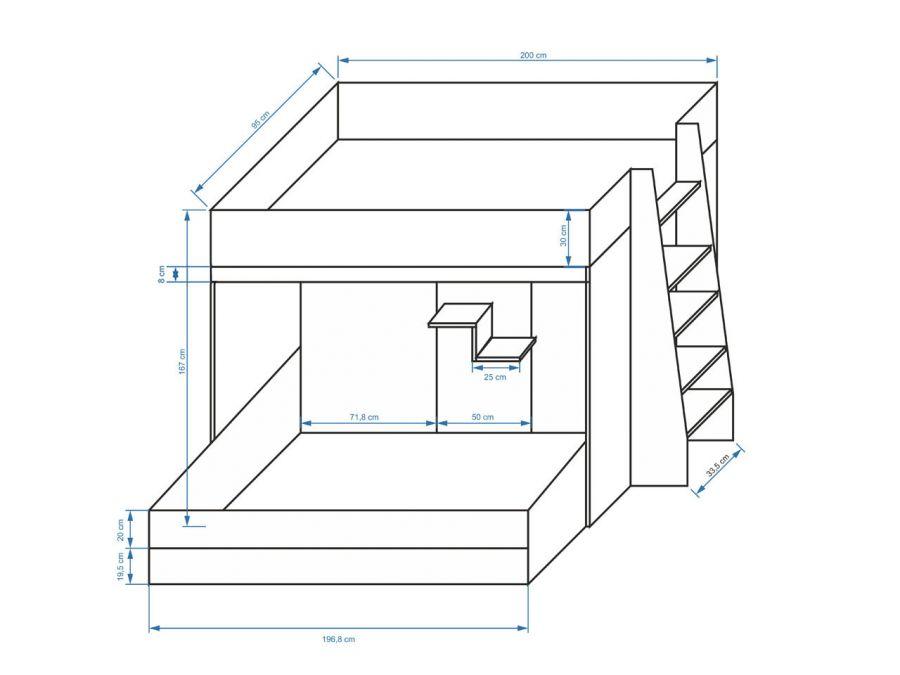 poschodová posteľ s úložným boxom