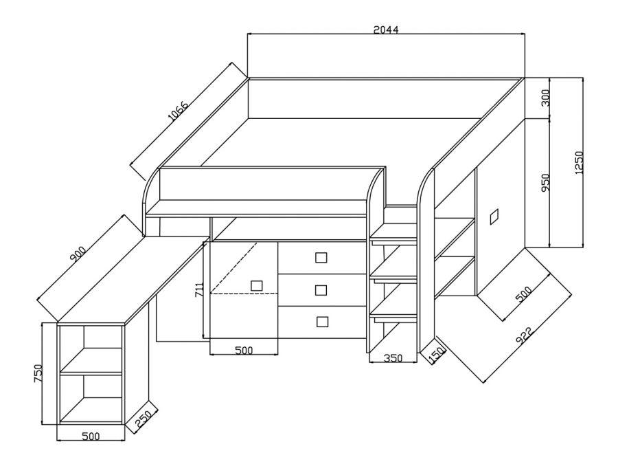 poschodová posteľ - multifunkčná
